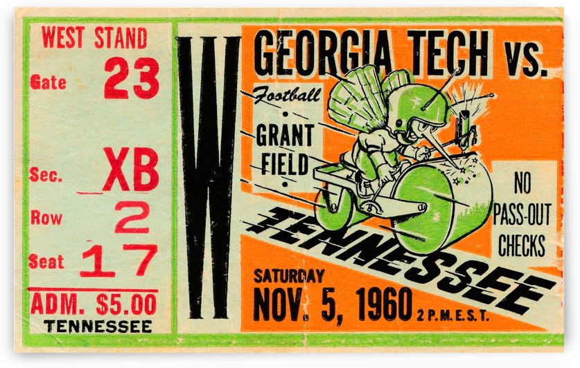 1960 Georgia Tech vs. Tennessee by Row One Brand