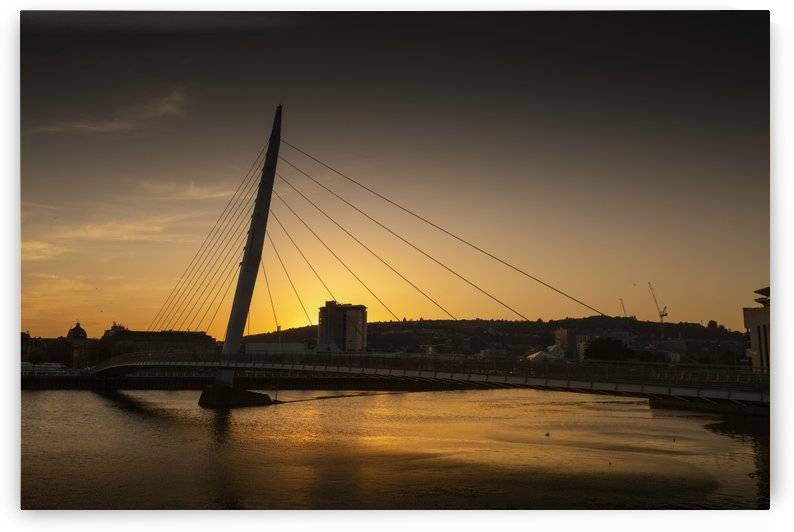 Sunset over Swansea Sail Bridge by Leighton Collins