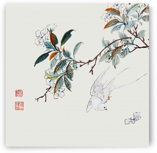 Chinese traditional flower-and-bird painting prints. Ming Dynasty paintings. Vintage art prints. Wall decor. Chinese traditional art prints 001. by YongeArtStudio