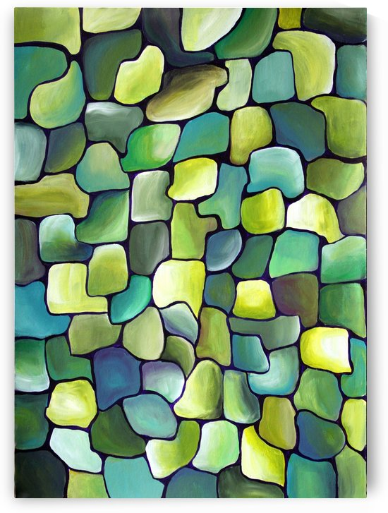 Artdeco Gren Interlacing Tiles Watercolor by Nisuris Art