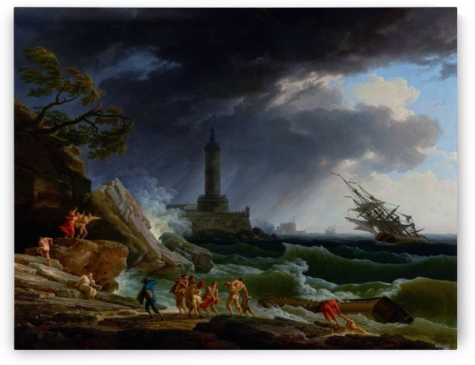 A Storm on a Mediterranean Coast by Claude Joseph Vernet Old Masters Reproduction by xzendor7