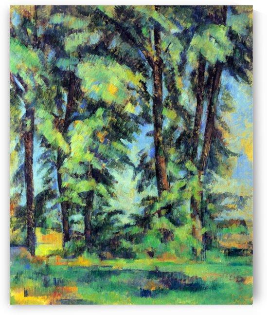High trees in the Jas de Bouffan by Cezanne by Cezanne