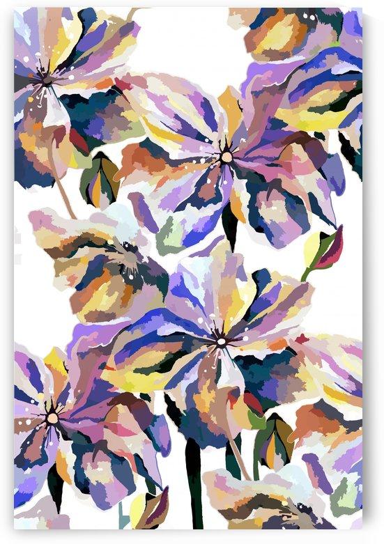 Watercolor Vintage Retro Floral Pattern  by Nisuris Art