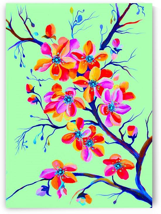 Watercolor Sakura Japanesse Cherry Flowers by Nisuris Art