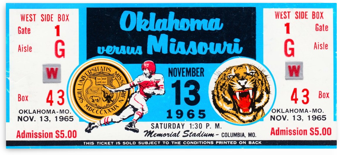 1965 Oklahoma Sooners vs. Missouri Tigers Ticket Art by Row One Brand