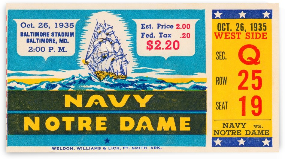 1935 Notre Dame vs. Navy Ticket Stub Wall Art by Row One Brand