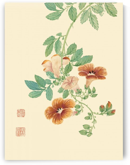 Chinese traditional flower-and-bird painting prints. Ming Dynasty paintings. Vintage art prints. Wall decor. Chinese traditional art prints 004. by YongeArtStudio