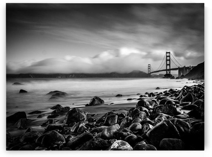 Marshalls Beach & Golden Gate Black and White by Raquel Creative