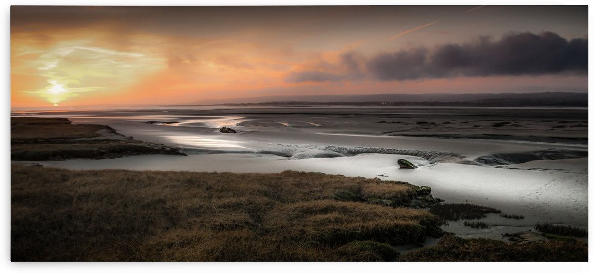 Penclawdd marsh sunset by Leighton Collins