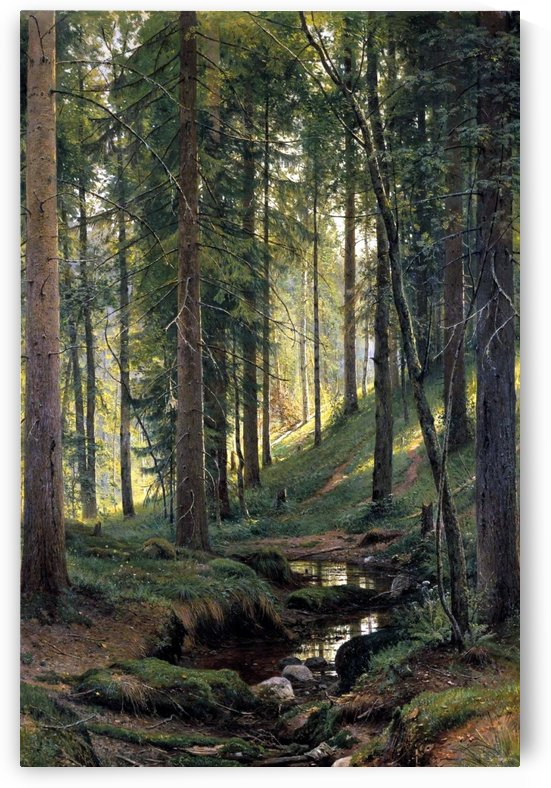 Stream by a forest slope by Ivan Shishkin