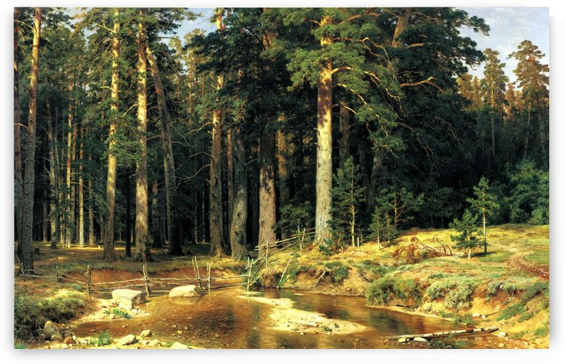 River along the forest by Ivan Shishkin