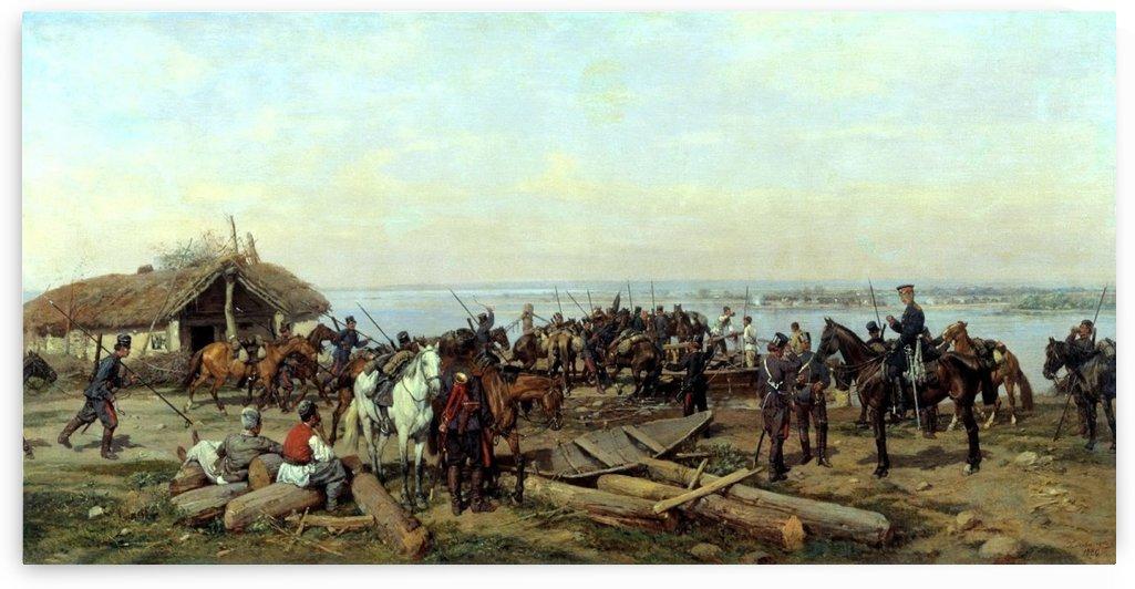 El cruce del Danubio by Paul (Pavel) Osipovich Kovalevsky