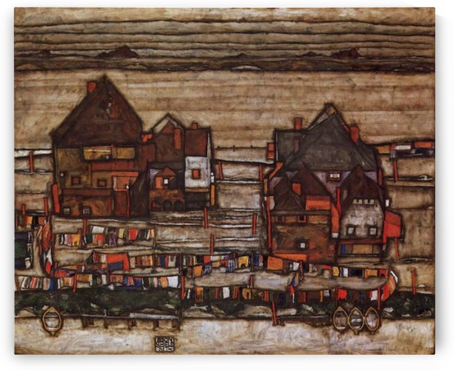 Houses with laundry lines and suburban by Schiele by Schiele