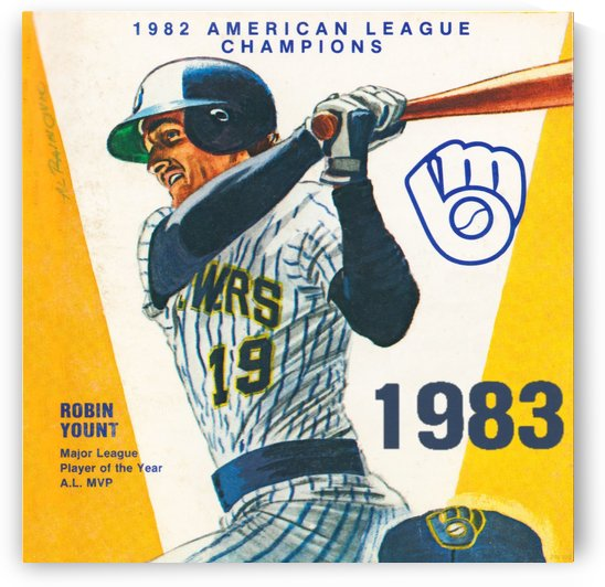 robin yount art milwaukee brewers 1983 (1) by Row One Brand