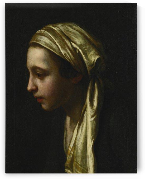 A peasant girl in profile wearing a white scarf by Pietro Antonio Rotari