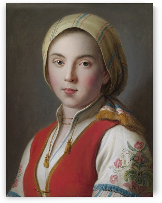 Portrait of a young woman in peasant costume by Pietro Antonio Rotari