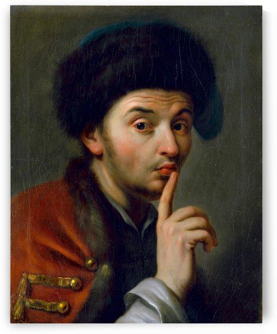 Man With Fur Hat, Lifting His Right Index Finger by Pietro Antonio Rotari