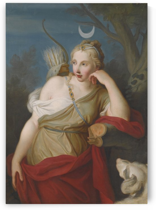 Diana, Goddes of the hunt, leaning against a tree by Pietro Antonio Rotari
