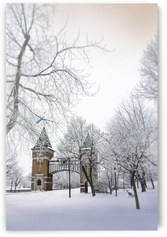La porte des anciens maires is commemorative gate to the mayors of the city of Saint-Hyacinthe Quebec Canada in winter by Francois Lariviere