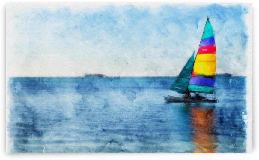 Sailboat in Blue by On da Raks
