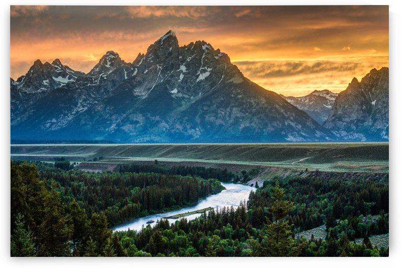 Sunset on Grand Teton and Snake River - Wyoming by Gary Whitton