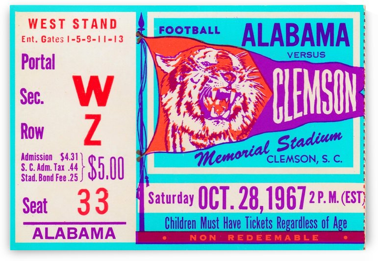 1967 Alabama vs. Clemson by Row One Brand