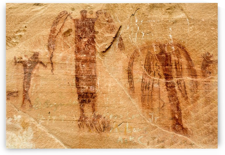 Sandstone Angels - Buckhorn Wash Pictograph Panel - Utah by Gary Whitton