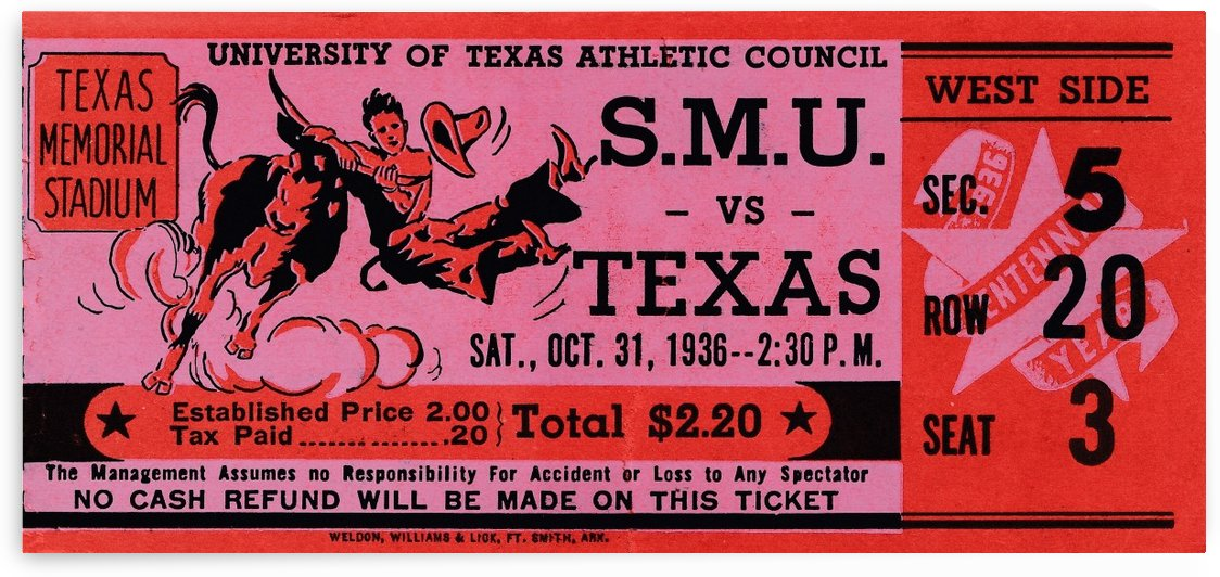 1936 texas longhorns football ticket stub art by Row One Brand