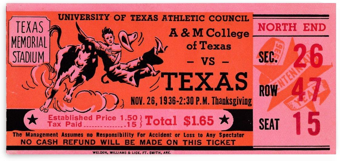 texas longhorns ticket stub wall art by Row One Brand