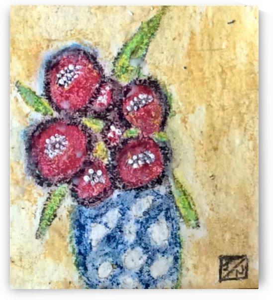 Flowers in  blue  spotty Vase  by Zaramar Paintings