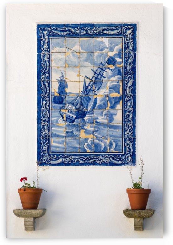 Antique Portuguese Azulejo - Traditional Caravelas Sailing Ships by GeorgiaM