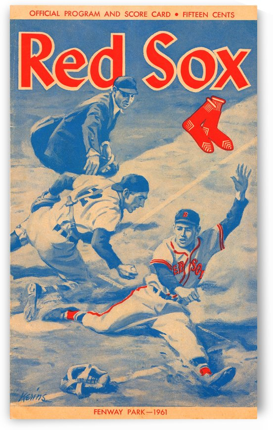 1961 Boston Red Sox Score Card Art by Row One Brand