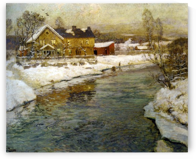 Cottage by a Canal in the Snow by Frits Thaulow