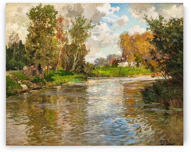 Landscape with river by Frits Thaulow