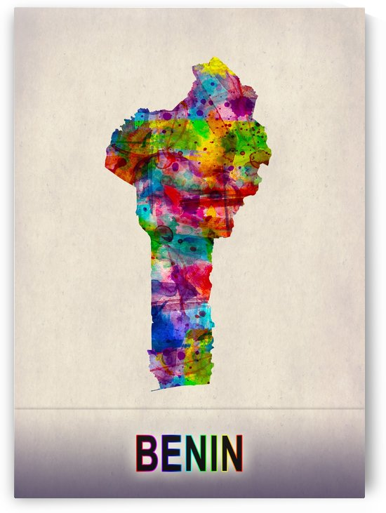 Benin Map in Watercolor by Towseef