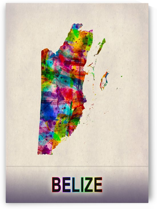 Belize Map in Watercolor by Towseef