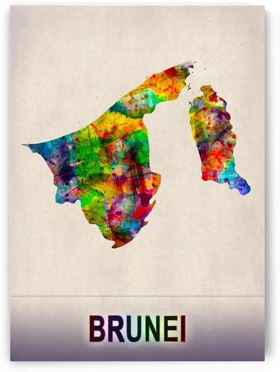 Brunei Map in Watercolor by Towseef Dar