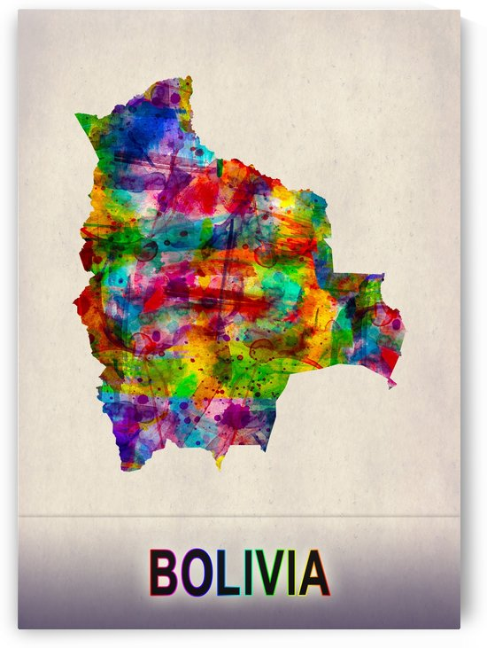 Bolivia Map in Watercolor by Towseef Dar