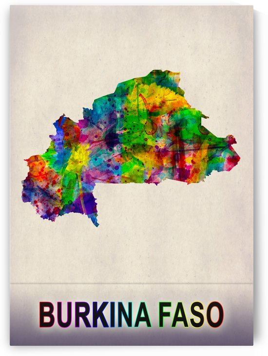 Burkina Faso Map in Watercolor by Towseef Dar