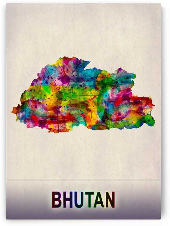 Bhutan Map in Watercolor by Towseef