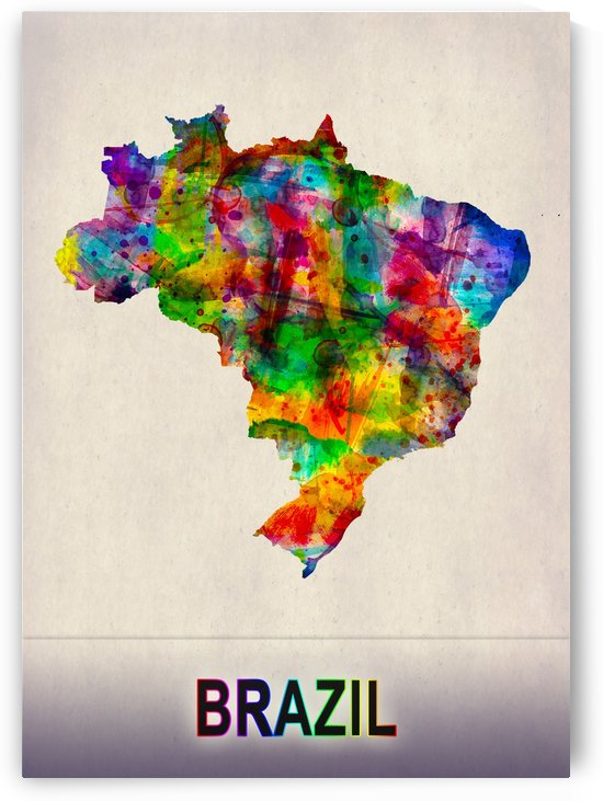 Brazil Map in Watercolor by Towseef Dar