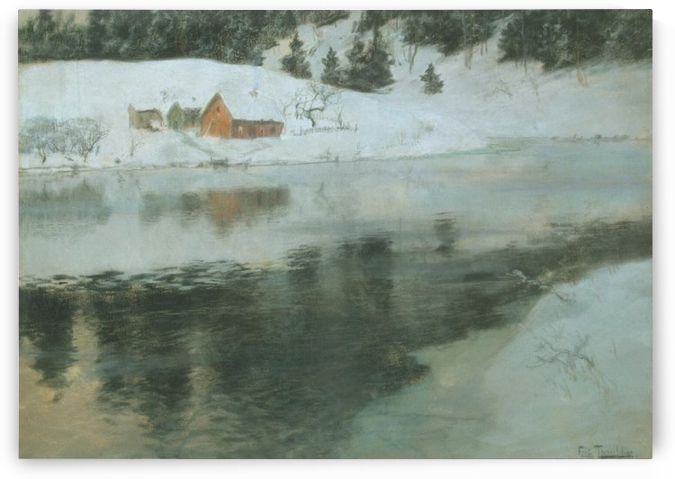Winter landscape with river by Frits Thaulow