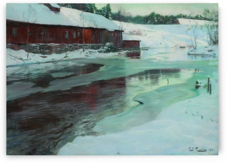 Mill in winter by Frits Thaulow