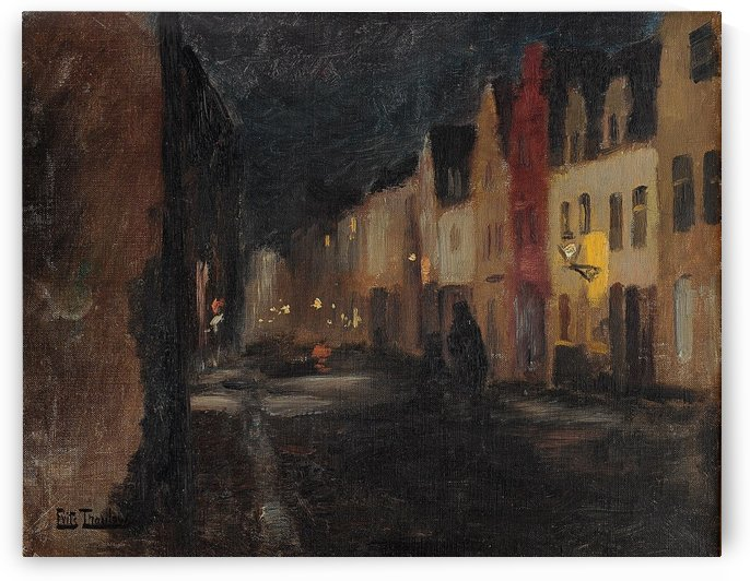 Street in Dieppe, night by Frits Thaulow