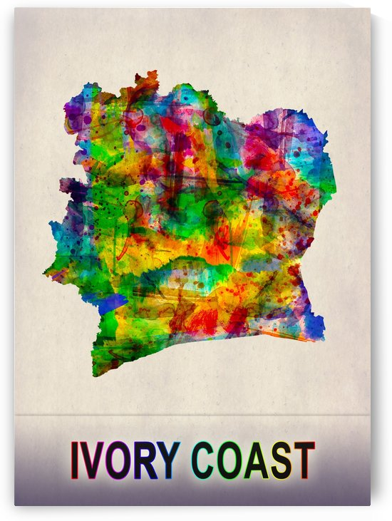 Ivory Coast Map in Watercolor by Towseef