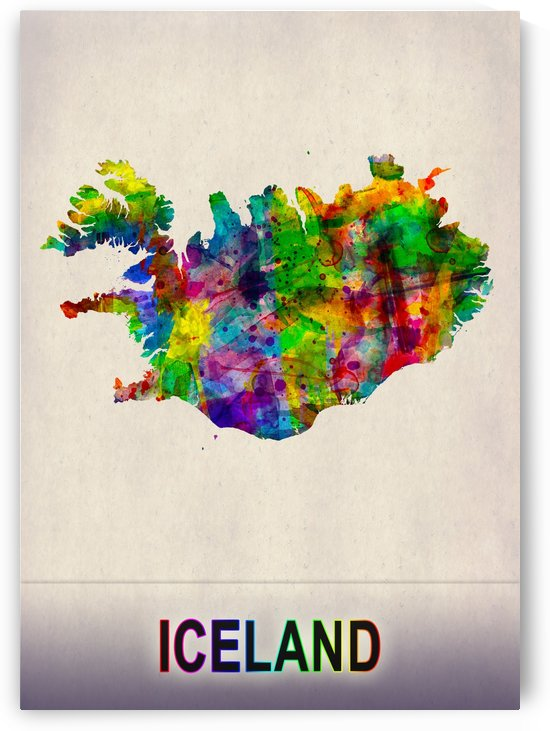 Iceland Map in Watercolor by Towseef