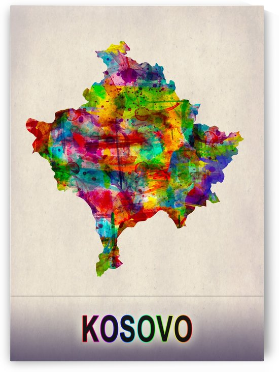 Kosovo Map in Watercolor by Towseef