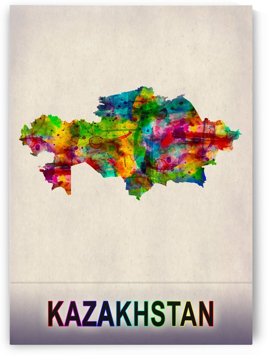 Kazakhstan Map in Watercolor by Towseef