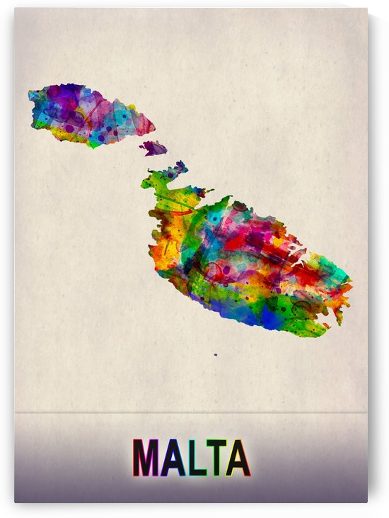 Malta Map in Watercolor by Towseef