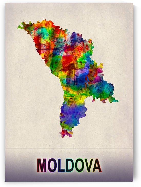 Moldova Map in Watercolor by Towseef